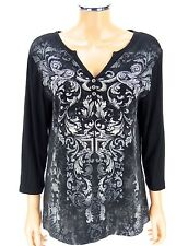 CHICO'S ZENERGY Bling Top Shirt SIZE 2 LARGE 12-14 Black Crystals Scrolls V-Neck