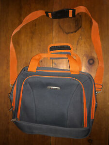 Rockland Travel Carry On Bag Gray Orange 3 Pockets Size 14x11x5 Shoulder Laptop