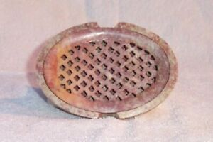 Natural SOAPSTONE 2pc.OVAL Lattice Insert SOAP DISH by TS Pink No Two Are Alike