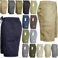 Mens Elasticated Waist Cargo Combat Plain 3/4 Shorts 6 Pocket King Size M-5XL
