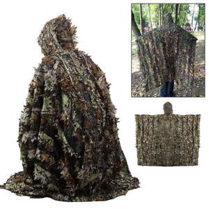 3D Camouflage Ghillie Suit Leaf Poncho Stealth Cloak Jungle Hunting Camo Clothe