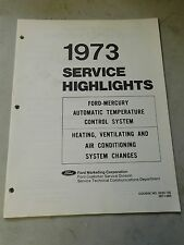 Nos 1973 Ford Dealership Service Highlights Auto Temp Control Heating A/C Manual