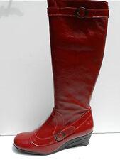 Fly London Bolt Chaussures Femme 41 Bottes Genoux Cavalières Cuir Rouge UK8 Neuf