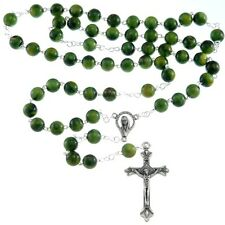 Ornate Green Rosary Beads with Miraculous Medal Junction - UK Seller