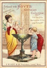 Victorian Trade Card-Hoyt's German Cologne-Lowell, MA-Woman & Children-Fountain