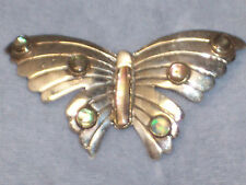 Pin Signed Ace Eagle 3 Vintage Mexican Sterling Silver Abalone Butterfly