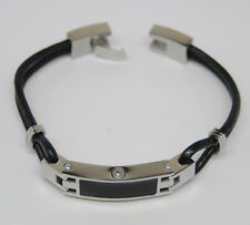 "WOMEN'S 7.5"" BLACK FRONT CREMATION URN BRACELET WITH LEATHER STRAP"