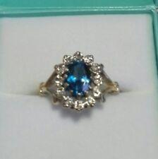 💙Hallmarked Solid 9ct Gold Blue Topaz & Diamond Cluster Ring size Q1/2💙