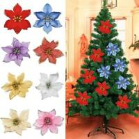 10x Christmas Artificial Glitter Poinsettia Flowers Xmas Tree Wedding Ornaments