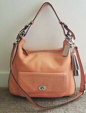 Coach Legacy Perforated Leather Courtenay Hobo Shoulder Bag #23704 Coral/Chalk
