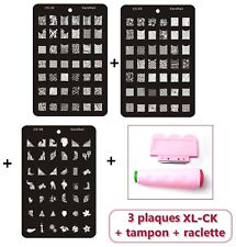 KIT STAMPING : 3 Plaque XL ck + Tampon Double + Raclette +7 VERNIS +KDO MANUCURE
