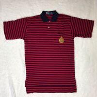Ralph Lauren Mens Polo Shirt Red Blue Stripe Short Sleeve Hi Low 100% Cotton S
