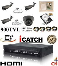 4Ch Security Network Dvr System Package & 1 Tb Hd & 1 Indoor & 3 Outdoor Camera