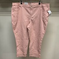 Style & Co Womens Plus Size 20W Stretch Peach Mid Rise Capri Cropped Cuffed NWT