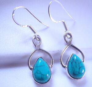 Turquoise Infinity Teardrop 925 Sterling Silver Dangle Earrings Corona Sun