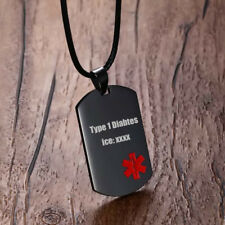 Medical Alert ID Soldier Dog Tag Necklace Pendant Stainless Steel Free Engraving