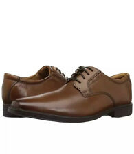 Clarks Mens Shoes TILDEN PLAIN Oxford Dark Tan Leather UK 9.5 H  /44 Wide Fit