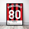 Ronaldinho Milan Football Gift Framed Shirt Poster