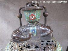 """China Royal old 100% Bronze cloisonne Elephant """"Zun"""" incense burner Censer"""