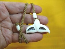 (JBA-20) WHALE TAIL aceh bovine bone + paua shell PENDANT Necklace whales tails