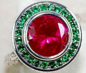 3CT Ruby & Emerald 925 Sterling Silver Art Deco Ring Jewelry Sz 8 FS2