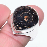 Magnetite In Ammonite Fossil Handmade 925 Sterling Silver Ring s.7.5 R1013-51