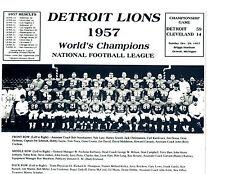 1957 WORLD CHAMPIONS  DETROIT LIONS TEAM 8x10 PHOTO NFL  FOOTBALL AFL HOF