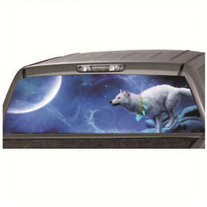 Night Wolf Decal Tint Sticker For Car Truck SUV Rear Windshield 58x18in Blue 1Pc