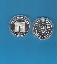 Monuments d'Europe 15 écus/100 Francs en argent 1993 Arc de Triomphe Paris