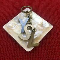 Yves Saint Laurent YSL Logo Keychain Gold Silver Bag Charm Key Holder Keyring