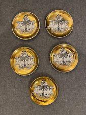 """Fornasetti Milano Roman Motif Plate 4"""" Coaster Round Gold Set 5"""