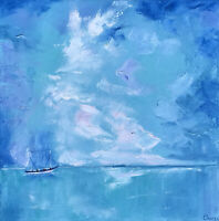 Seascape Painting Original Art Abstract Canvas Artwork Impasto 14 by 14 in