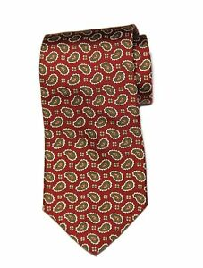 Brooks Brothers Tie Italian Silk Paisley Floral Red Brown White Men's Long