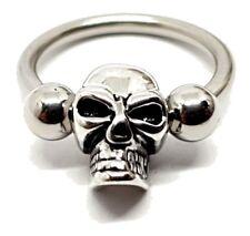 Piercing 12mm Curved Bar Skull Head Ring 316l Steel 14g(1.6mm) 4mm Ball Clipped