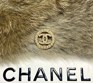 CHANEL CC Pearl Gold button STAMPED Round metal buttons 22mm