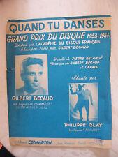 Partition Quand tu Danses Gilbert Bécaud Philippe Clay GP du Disque 1953 1954