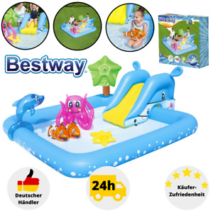 Bestway Kinderpool mit Rutsche Planschbecken Waterplay Aufblasbar Poolrutsche