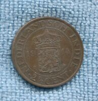 1914 NETHERLANDS EAST INDIES   2 1/2 ( two and a half ) Cents Coin K-697