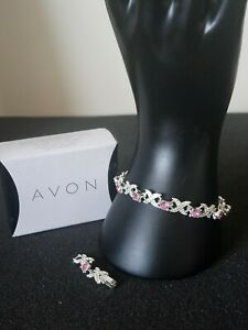 Avon Silver Plated X's & O's Bracelet With Rose Colour Stones BNIB