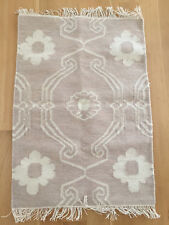 Small Flatwoven Rug Floral Neutral Ivory Wool Cotton Anthropologie Size 2' x 3'