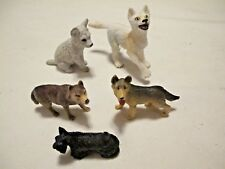 """Lot of Five Dogs Two 3"""" Wolves + Two 2"""" +Terrier Realistic Rubber Vinyl Animals"""