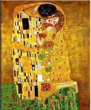 The Kiss Gustav Klimt Classic Oil Painting on Canvas Modern Abstract HUGE 24x32""
