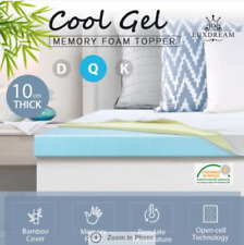 10cm Queen Size Cool Gel Memory Foam Mattress Topper Underlay Bamboo Cover