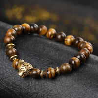 New Fashion Men's Yellow Tiger Eye Gold Leopard Head Yogo Stretch Bracelet Hot