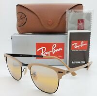 NEW Rayban Sunglasses RB3716 9157AG Clubmaster Aluminum Yellow Mirror AUTHENTIC