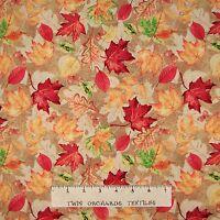 Fall Fabric - Farmers Market Fall Leaf Toss Brown - Spectrix SPX YARD