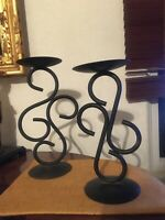 Vintage MidCentury Wrought Iron Pillar Candle Holders Stand Goth Spanish Mission