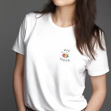 Bee Proud LGBT White T Shirt Hipster Love Gay Bi Pride Peace Equal Rights Trans