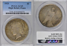 1921 PCGS XF45 HIGH RELIEF SILVER PEACE DOLLAR COIN !!! BEAUTIFUL !!!
