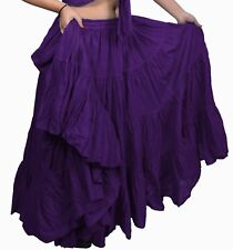 NEW COLOUR Purple American Tribal Gypsy 25 yard belly dancing cotton skirt L36""